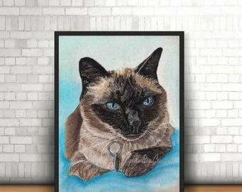 digital download, print, cat, desk, wall decoration, pastel, instant. painting, drawing, Siamese, downloadable image