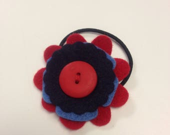 Blue and red flower hair band