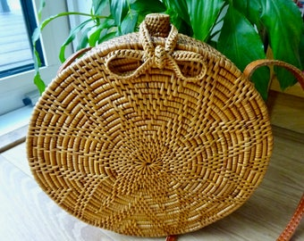 Lana Round Woven Rattan Bag, Shoulder Bag, Crossbody Bag, Basket Bag - woven bow closure