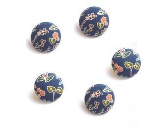 Lot 5 buttons covered with fabric liberty Tess and Rosa size and color OPTION, buttons in France