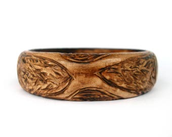 Cuff bangle, wooden bracelet, wooden bangle bracelet, boho bracelet, wood burned, tribal bracelet, natural wood jewelry, one of a kind