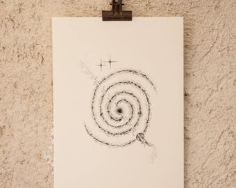 Pointillism Dotwork ink art - Désagrégation