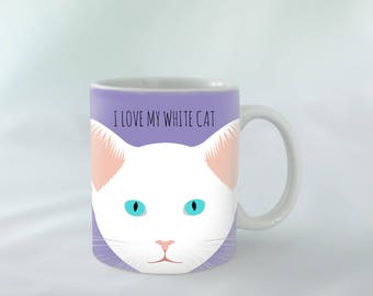 I Love my White cat Mug personalised | Different colours available | Custom name mugs | Cat Mug | Cat gift
