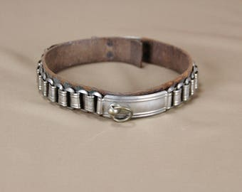 Antique double chain leather dog collar late 19th early 20th century
