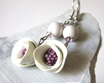 Flower Earrings purple cold porcelain