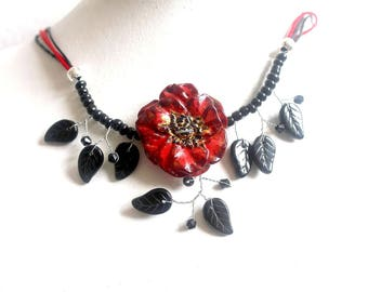 Anemone flower red and black beads necklace jewelry