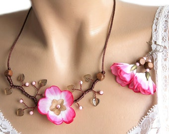 Pink Apple Blossom branch set