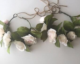 White rose flower crown