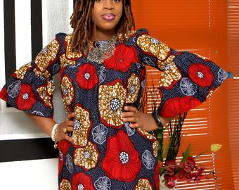 Bella Comfy Bell Sleeves Ankara Dress/Quality African Prints/ Short Ankara Dress