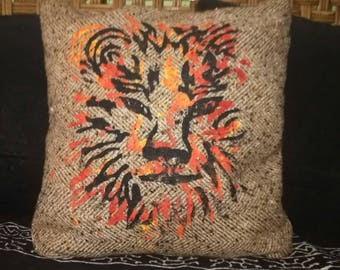 Hand crafted lion pillow