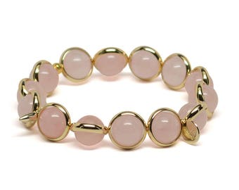 Rose Quartz and Gold Plate or Silver Plate Adjustable Bracelet Handmade in the USA
