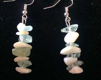 Green and white quartz earrings