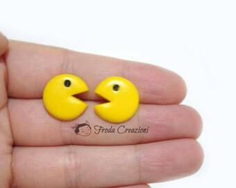 Pacman - Mrs Pacman - Nerd - Geek -  Earrings - Kawaii - Videogames - Yellow -