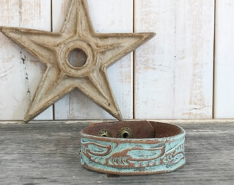Aqua Painted Upcycled Leather Cuff