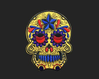 Yellow Sugar skull patch face patch Rock and roll patch embroidered patch iron on patch bag patch hat patch gift