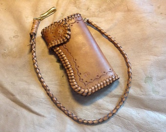 Tooled leather biker wallet