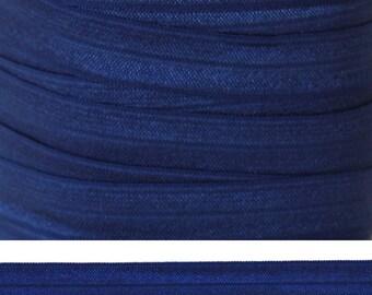 NAVY Fold Over Elastic - FOE- 5 Yards - Solid Fold Over Elastic - Blue Elastic - Navy Ribbon - Navy Elastic - 5/8 Elastic