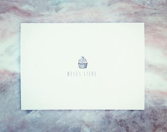 Papeterie - postcard / greeting card / card / postcard - subject: cupcake 'Love' (100% recycled paper, typography, illustration)