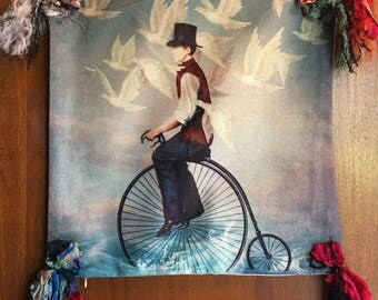 Fantasy bicycle pillow cover