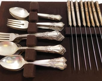 "WMA ROGERS Oneida Flatware Set ""Valley Rose"" Silver Plate 43 Piece- forks, spoons, knives"