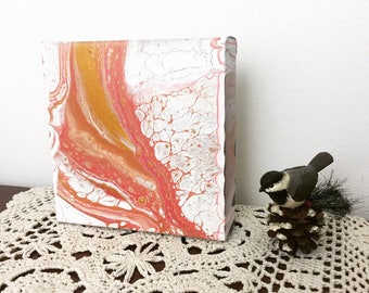 Fluid Acrylic Painting, Original Art on Canvas, Small Pink Art, Abstract Painting, Valentines Gift, Spring Decor, Small Gift, Whimsical Deco