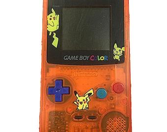 Transparent Orange Pokemon Gameboy Color GBC Console