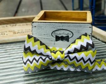 Yellow Zig Zag Bow Tie