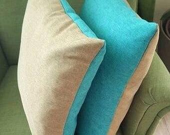 1 pair of turquoise-beige handmade unique pillow