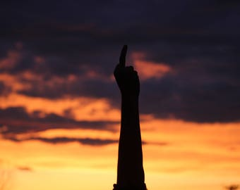 Middle finger and Sunset Photograph/ Home decor