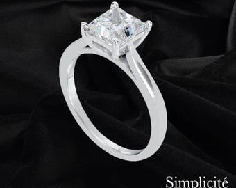 1.75 ct Princess Cut Diamond Ring, Engagement Solitaire SI1 Diamond Ring, 14K White Gold