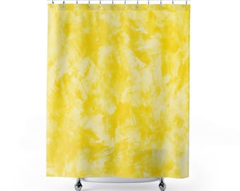 Yellow Bathroom - Shower Curtain - printed shower curtain - plaster style