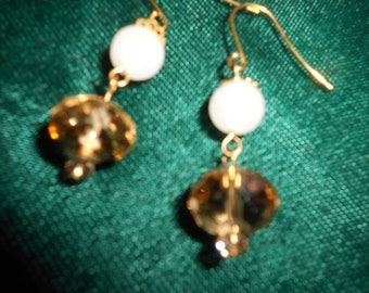 Gold crystal and moonstone earrings