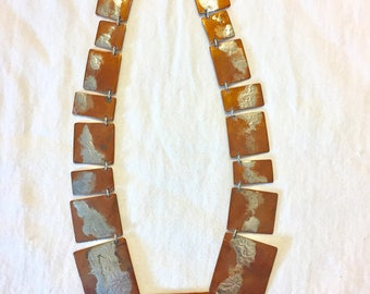 Vintage Hammered Copper and Sterling Silver Statement Necklace