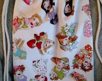 Fancy ladies cotton drawstring backpack, FUN girlfriend gift, Handmade, Cotton, Bag, Overnight bag, Lightweight