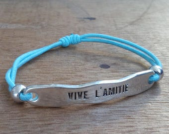 Bracelet - adjustable - Vive friendship - stainless steel - Silver - sky - bohostyle - Bohemian - gypsy - Beach - surf blue - gypsystyle