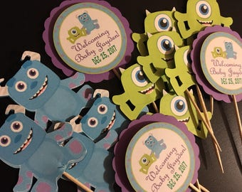 Monsters Inc. baby shower personalized cupcake toppers