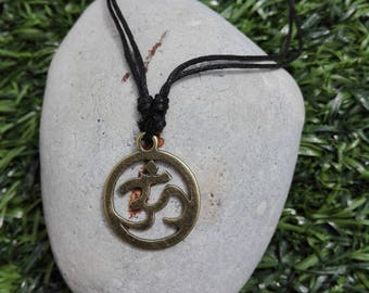 OM on cord necklace