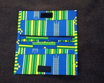 Attractive Blue and green african fabric money purse