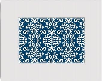 Navy Blue and White Designer Print