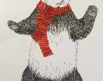 Framed, pen and ink panda with embroidered scarf