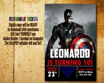 Captain America Invitation,Captain America Birthday,Captain America Party,Captain America Card,Captain America Editable,Captain America_BF13