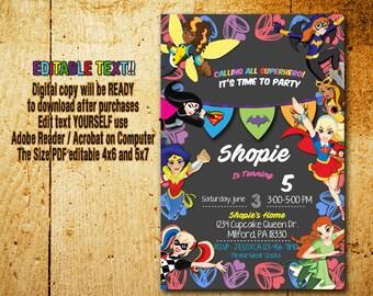 Superhero Girl Invitation,Superhero Girl Birthday,Superhero Girl Party,Superhero Girl Card,Superhero Girl Printable,Superhero Girl_BS039