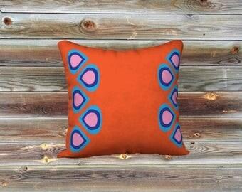 Teardrops throw pillow cover (orange)