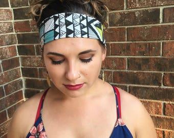 Wide Adjustable/Reversible Geometric Print Headband
