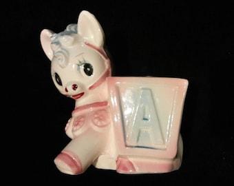 Ruben Silver Label Baby Horse Pony Donkey Planter ABC 3108 Porcelain 1950