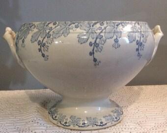 French Antique K & G Luneville NEVA Ironstone Tureen, Antique French Tureen, K and G Luneville Tureen, Soup Tureen, Antique Soup Bowl