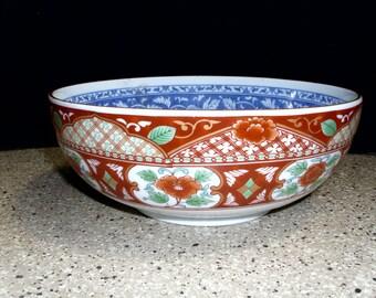 Vintage Japanese Soup Noodle Rice Serving Bowl Hand Painted Floral Geometric Design Marked
