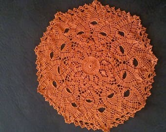 Dark Russet-Pumpkin Colored Doily Size Large...Handmade...Great for Fall Decorating