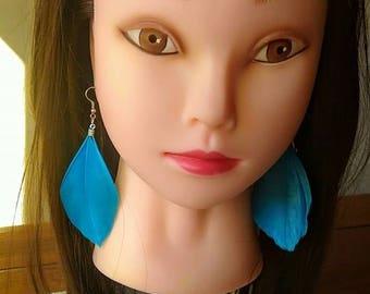 Single Feather earring, Blue feather earring.