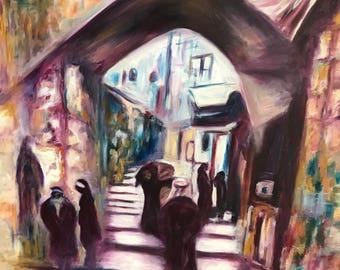 Original oil Painting Vintage Brushes Canvas Art Jerusalem The Street Of Chains
